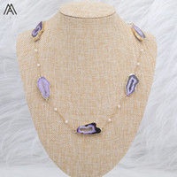 Wholesale agate slab beads resale online - Fashion Women Irregular Big Hole Druzy Agates Stone Slab Bead With Small Round White Baroque Pearl Gold Chain Necklace N0074AMEH