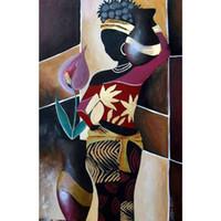 pinturas de arte africana mulheres venda por atacado-Pintados à mão pinturas da lona Mulher africana mulher impressionista arte para decoração de parede