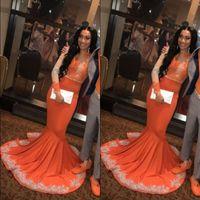 вечерние платья оптовых-Африканские черные девушки русалка оранжевые платья выпускного вечера 2019 кружева с длинным рукавом аппликация плюс размер плюс размер вечерние платья