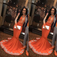 vestidos de fiesta largos naranja negro al por mayor-African Black Girls Mermaid Orange Prom vestidos de fiesta 2019 manga larga de encaje Applieque Plus Size Plus Size vestidos de noche