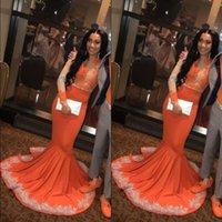 kızlar için dantel portakal elbisesi toptan satış-Afrika Siyah Kızlar Mermaid Turuncu Balo Parti Elbiseler 2019 Uzun Kollu Dantel Aplike Artı Boyutu Artı Boyutu Abiye giyim