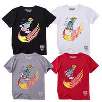 rote schwarze graue hemden großhandel-Travis Scott X Mitchell Ness Houston Remixe Kampagne Mode T-Shirt Weiß Schwarz Grau Rot Freies Shiping