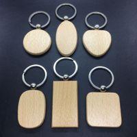 Wholesale diy keyrings resale online - 201910 DIY Blank Wooden Key Chain Personalized EDC Wood Keychains Fashion Keyrings Car Key Holder Best Gift Styles Custom Logo G199F
