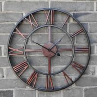ingrosso decorazioni in ferro battuto-Nuovo orologio da parete retrò circolare 3D Romano 47 centimetri in ferro forgiato Vintage Grande orologio da parete decorativo muto sulla decorazione a parete per la casa