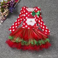 ingrosso costumi di polka di natale-Cute Baby Abbigliamento Ragazze Bambini Costume di Natale Vestito da ragazza Bambini Applique Infantil Vestidos Baby manica lunga Polka Dots Abbigliamento