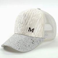 kız şapkalı moda toptan satış-M Mektup Kap Yaz Örgü Beyzbol Kapaklar Kız Kırışıklık Snapbacks Moda Hip Hop Kap Şapka Çiftler Düz Kap Şapka GGA2015