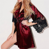 lila satin-pyjama großhandel-Damen Sexy Dessous Schwarz Weiß Rot Spitze Nachtwäsche Spitze Satin Babydoll Robe Frauen Sexy Nachtkleid