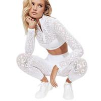ingrosso abbigliamento sportivo leopardo-Abbigliamento da yoga da donna a due pezzi Set a vita alta da palestra Abbigliamento fitness Leopard Print Lace Running Sportswear 2019 Novità