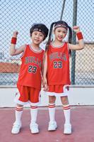 pantalones cortos de algodón para niños al por mayor-Verano 2019 para hombres, niñas y niñas, camiseta de baloncesto 23 chándales, polo, pantalones cortos, algodón, ejercicio, deportes, tops, entrenamiento de entrenamiento.
