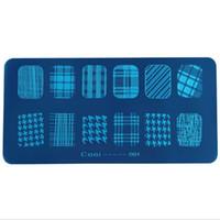 модели ногтей оптовых-Nail Patterns DIY Nail Art Tools Printing Template DIY Blue Film Polish Rectangular Printing Plate