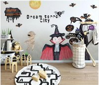 Wholesale fantasy room decor resale online - WDBH d wallpaper custom photo Modern minimalistic hand drawn cartoon horror fantasy city room decor d wall murals wallpaper for walls d