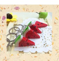 Wholesale food key rings resale online - Fruit Watermelon Keychain Keyring Creative Gift Simulation Food Charms Pendant Key Chain Key Ring