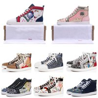 Wholesale flooring borders online - 2019 New Red Bottoms Designer Casual Shoes Suede Spike Crystal Leather Luxury Mens Women Party Wedding Sport Sneakers BOX DUST BAG