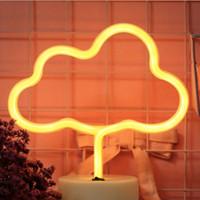 yenilik ampuller toptan satış-Karikatür Neon LED Neon Ampul Tüp Işık Yıldız Ay Yıldırım Yenilik USB / Pil Güç Lambası Ev Süslemeleri Armatür Başucu aydınlatma