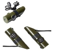 mini cep sağkalımı aracı toptan satış-7 1 Çok Amaçlı Mini Pusula Düdük Boyun Askısı Açık Survival Kamp Taşınabilir Cep Aracı Için Islık Termometre