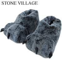 Wholesale slipper paws resale online - High Quality Paw Slippers Funny Animal Slippers Women Winter Monster Claw Plush Home Slipper Men Soft Indoor Floor Shoes Y200706