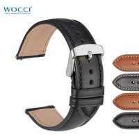 Wholesale handmade leather bracelets watches women for sale - Group buy WOCCI Handmade Stitching Watch Bands Replacement Strap For Men Wristwatch Women Bracelet Calfskin Full Grain Leather in Black Gold Brown