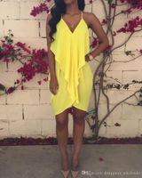 ingrosso yellow halter top dress-Sexy Summer Deep V Chiffon Abito estivo donna Nice Ruffles allentato Abiti da festa Halter Top Abiti Club Outfit Plus Size XL