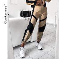 cintura alta calças cáqui venda por atacado-Camkemsey streetwear patchwork preto cáqui carga harém calças para as mulheres 2019 nova moda de alta cintura basculador sweatpants sh190719