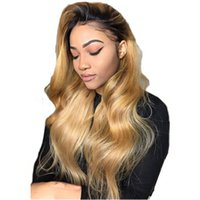 Wholesale thick human hair wigs resale online - 150 Density Ombre Honey Blonde Color B Thick Glueless Full Lace Human Hair Wigs Brazilian Body Wavy Lace Front Wig