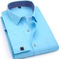 camisas comerciais amarelas venda por atacado-Camisa de Vestido de Negócios masculino Fit Festa de Casamento Homens Clothin Mens Abotoaduras Francês Mangas Compridas Camisas Preto Branco Azul Amarelo lapela