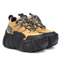 nubukleder echte schuhe großhandel-Perfekte offizielle Qualität Vetements Schuhe Fashion Echtes Leder X Swear Nubuck Platform Sneakers Schwarz London Unisex Dad Schuhe