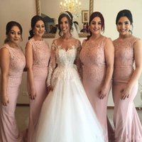 Wholesale wedding guest dress for sale - 2019 New Blush Pink Mermaid Bridesmaid Dresses Jewel Lace Appliques Long Satin Arabic Sleeveless Plus Size Maid Of Honor Gowns Wedding Guest