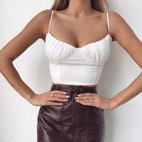 laço do tanque do laço venda por atacado-Verão 2019 Ruched Backless Lace Up Sexy Colheita Top Spaghetti Strap Womens Camisoles E Regatas