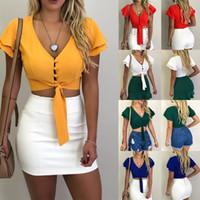 modelos de blusas de pescoço venda por atacado-camisa cintas 2019 novas mulheres Europa e os modelos de explosão Estados Unidos V-neck sexy cor sólida umbilical blusa curta