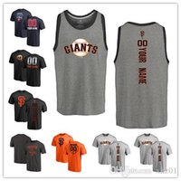 banners personalizados al por mayor-2019 Custom Men 's mujeres Juventud SF Gigantes camiseta de béisbol Nombre y número personalizados Banner Wave Béisbol Tri-Blend Tank Top Jerseys