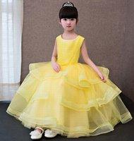 ingrosso i vestiti di colore giallo del tulle 12-Strati di Tulle gialli Flower Girl Dresses Princess Dresses Girls Pageant Dresses Birthday Kids Party Occasioni speciali Vestito per bambini GHST161