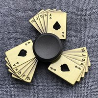 Wholesale fidget dice for sale - Group buy Fidget Spinner Brass Color Zinc Alloy Metal Hand Spinner Dice Bauhinia Rudder Exterior Smooth Finger Tri Spiner Gyro Toy For Kid