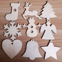 Wholesale craft pendants vintage for sale - Group buy 100PCS Vintage Christmas Wooden Pendants Ornaments DIY Wood Crafts Xmas Tree Ornaments Christmas Party Decorations Kids Gift
