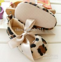 ingrosso scarpe prewalker leopard-Commercio all'ingrosso - scarpe per bambini Scarpe per suole morbide per bambini - Leopard Infant Booties shoes Girl's Prewalker Primo camminatore
