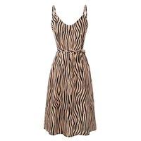 zebra çizgileri ince toptan satış-Kadın Kolsuz Yan Yarık Seksi Sling Elbise Kemer Şifon Slim Fit V Boyun Plaj Moda Spagetti Kayışı Yaz Zebra-şerit