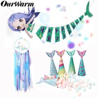 Wholesale kids mermaid decor resale online - OurWarm Mermaid Party Supplies Theme Mermaid Decor Banner Candy Box Candy Bag For Kids Favor Happy Birthday Party Decor