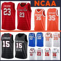 35 camisolas venda por atacado-23 Jarrett Culver 35 Kevin Durant College Basketball NCAA Jersey Raider Kawhi 15 Leonard San Diego jerseys Texas Tech Red State Aztecs