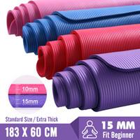 esteras de pilates gruesas al por mayor-15MM Grueso Yoga Mats 183X60 Pilates fitness pesas alfombra antideslizante ejercicio de la gimnasia Baile cojín para principiantes Hombres Mujeres Tapete