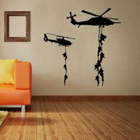 Wholesale military wall decor resale online - 57 cm Home Decoration Art wallpaper Mural The Armed Helicopter Removable Wall Decor Sticker Living Room and Boy s Room