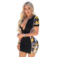 Wholesale leopard print resale online - Womens Summer Designer V Neck Cap Sleeve Dresses Sexy Night Club Casual Clothing Contrast Zipper Pencil Apparel