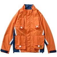 Wholesale block fashion men for sale - Group buy Men Hip Hop Jacket Streetwear Mult Pockets Zipper Up Jacket Windbreaker Harajuku Retro Orange Color Block Track Jacket Coat
