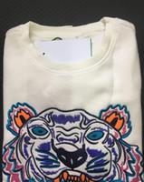 homens alto hoodie pescoço venda por atacado-Bordado tigre cabeça camisola homem mulher de alta qualidade manga longa O-pescoço pullover Hoodies Camisolas jumper melhor qualidade Branco S-XXL
