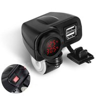 araba için 12v voltmetre toptan satış-12V Kırmızı LEDMotorsiklet USB Şarj 2.1A + 2.1A w / Dijital Voltmetre + Termometre: araba.