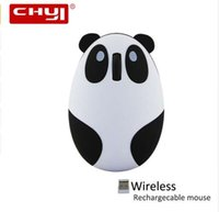 Wholesale cute mouse for laptop online - CHYI Cute Cartoon Panda Wireless Mouse DPI Optical Rechargeable Mice USB Computer Mause With Mouse Pad For PC Laptop Girl