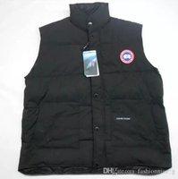 moda chaleco abajo al por mayor-Nueva moda de los hombres delgados de Canadá chaqueta de abajo chaleco chaleco de las mujeres chaleco párrafo corto unisex abrigo casual