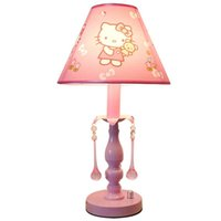 ingrosso cristalli da tavolo rosa-OOVOV Princess Room Lampada da tavolo in tessuto rosa Cute Fashion Kids Room Lampada da tavolo in cristallo Lampada da tavolo per ragazze