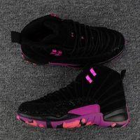baloncesto violeta zapatillas deportivas al por mayor-Alta calidad Jumpman 12 12s Doernbecher hombres zapatos de baloncesto 12s DB Carissa Hyper Violet negro púrpura Retro deporte zapatillas de deporte zapatos