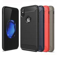 ingrosso blackberry silicone case-Custodia robusta per armatura per iPhone 7 8 Plus X XR MAX Custodia rigida per Samsung Galaxy S10 S10e antiurto in fibra di carbonio