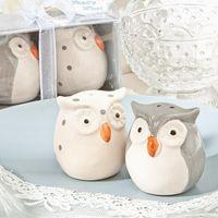 ingrosso favori del partito della doccia del owl del bambino-MOQ: 10pairs Party Favors Regalo creativo White Owl Seasoning Bottle Carino per Baby Shower Wedding Souvenir Regalo di compleanno degli ospiti