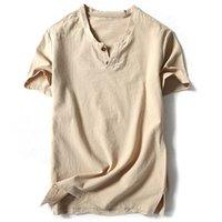ingrosso mens camicia di lino manica corta-Camicie uomo di marca con manica corta in lino cotone Camicie casual Maschile bianco Tee Masculina Top Harajuku Abbigliamento uomo solido